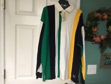 Vtg Nautica J-Us2 Navy/Green/Yellow Stripes Long Sleeve Collar Shirt Xl (Con12)