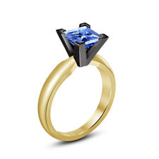 Princess Cut Blue Sapphire Engagement Ring 14K Yellow Gold Over 1.2 Ct Solitaire