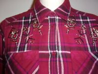 Express Womens Western Red Flannel Shirt Plaid Button Down Long Sleeve sz S (B88