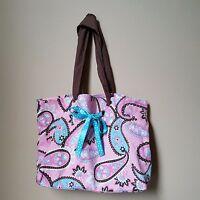 Pink Blue Brown Paisley Canvas Tote Purse Shoulder Bag Handbag Ribbon