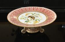 Antique Crown Derby Comport Hand Painted Goldfinch Raised Gold Dots C1888