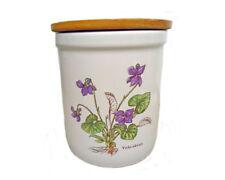 Marks & Spencer Pottery Storage Jar Botanical Daisy Violet Kitchen Vintage M&S