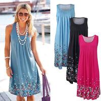 Women Boho Summer Casual Beach Party Midi Dress Floral Sleeveless Sundress S-4XL