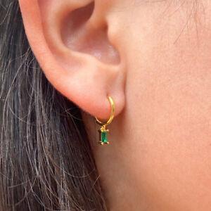 Single Hoop Earring Emerald Baguette CZ sterling silver hoops huggies green