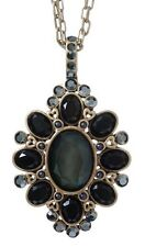 £55 Baroque Gothic Gold Black Oval Pendant Necklace Swarovski Elements Crystal