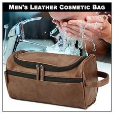 Toiletry Bag Men Large Shaving Brush Cosmetic Organizer Leather Travel Kits US