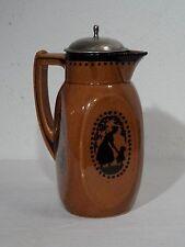 Antike Keramik Schokoladen Kakao Kanne Kakaokanne Art Deco Scherenschnitt Motiv