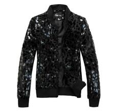 Mens Fashion Sequins Nightclub Leopard Coat Casual Long Sleeve Jacket Outwear SZ