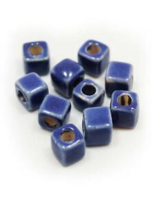 Ceramics Cube 5mm Blue 10 Piece Enamel ceramic beads Ceramic Jewelry