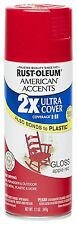 Rust Oleum 280716 American Accents Ultra Cover 2X Spray Paint, Gloss Apple Red,