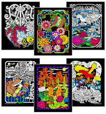 6-Pack of 8x10 Velvet Posters - Racoon, Stork, Bee, Flowers, Prairie Dogs, Bird
