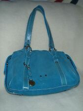 Vintage Francesco Biasia teal blue suede/leather purse/handbag medium hobo