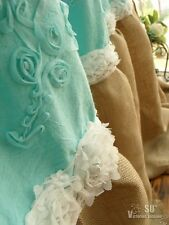 "80"" Turquoise Emb. Ribbon Rose Shabby Rustic Chic Burlap Shower Curtain Ruffle"