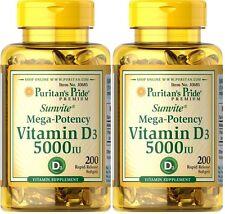 2 X 200 = 400 Softgels Vitamin D3 5,000IU Puritan's Pride Sunvite Mega-Potency