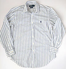 RALPH LAUREN Polo Andrew Mens White Blue Striped Button Dress Shirt Sz 15 32/33