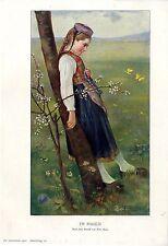 Fritz Reiss Im Maien Mädchen in Tracht nach einem Pastell Histor.Kunstdruck 1901