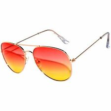 COLORED RED-YELLOW LENS AVIATOR STYLE METAL SUNGLASSES SILVER FRAME 99% UVB