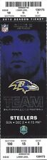 2012 NFL STEELERS @ RAVENS FULL UNUSED FOOTBALL TICKET - RAY LEWIS LAST SEASON