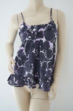 TOPSHOP Black Floral Strappy Top Tunic Dress Size 14 NEW (AT19)