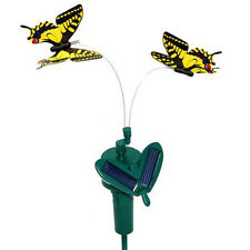 HQRP Twin Flying Butterfly with Stake, Yellow Swallowtail Solar Powered
