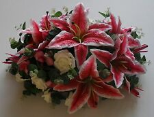 Stargazer Lily Rose Orchid Wedding Silk Flower Eucalyptus Top Table Arrangement