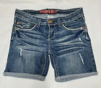 Hydraulic Womens Junior Cuffed Jean Shorts Denim Blue Distressed Size 9/10