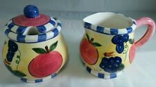 YOUNGS 1996 BRIGHT AND CHEERY FRUIT CREAM & SUGAR DISH