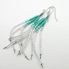 Handmade Jewellery. Long Beaded Tassel Drop Earrings