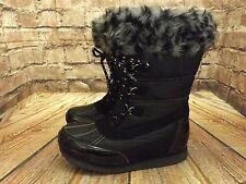 Ladies George Black Pull On Fleece Lined Flat Winter Boots Size UK 3 EU 36