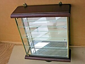 Glass Wood  Brass Mirrored  Curio Display CABINET for Collectables