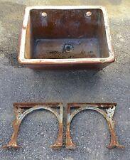 OLD VTG ANTIQUE STONEWARE CERAMIC CAST IRON BASE INDUSTRIAL WASH ROOM BASIN SINK