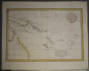 AUSTRALIA PAPUA NEW GUINEA PACIFIC 1797 LA PÉROUSE UNUSUAL ANTIQUE SEA CHART