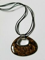 SILPADA N2014 Sterling Silver Bronzite Pendant Leather Necklace Brown 2 Strands