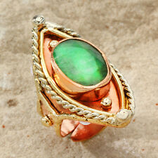 New Tara Mesa 6.80 CT Rough Emerald Marquise Knuckle Ring ~ Size 8 Adjustable
