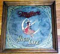 1984 Miller High Life Beer Girl Witch Moon Mirror Bar Pub Man Cave Sign Framed