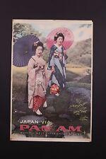 VTG ORIGINAL 1965  PAN AM AMERICAN AIRLINES TO JAPAN GEISHA GIRLS TRAVEL POSTER