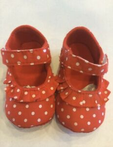 Baby Girl's Crib Shoes Red and White Polka Dot Shoes New