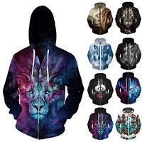 Unisex Men Women Hoodie 3D Wolf Animal Print Sweashirt Jacket Pullover Coat Tops
