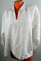 ESKANDAR 1 1X 2X TOP TUNIC SHIRT V-Neck 100% LINEN Oversize WHITE Art to Wear cc