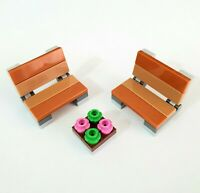 LEGO Park Benches & Flower Bed - Minifigure Accessories CITY MOC
