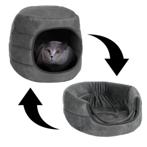 Cat Igloo Cave Bed For Small Dog Puppy Kitten Folding 2 in 1 Soft Pet Nest Bed