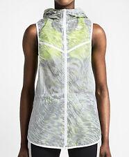 New Womens Nike Hooded Tech Running Performance Vest Size M Volt/White MSRP $150