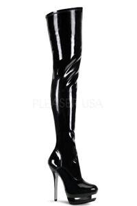 Overknee Stiefel Blondie-3000, schwarze Lackstiefel von Pleaser USA Overknees