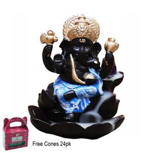 Ganesh Lotus Blue Backflow Burner Waterfall Smoke Holder With Cones