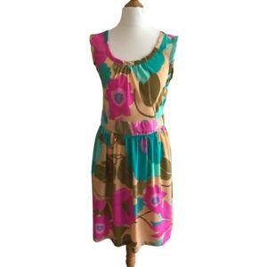 New Dorothy Perkins 70s Style Retro Floral Multicoloured Fashion Dress UK -12
