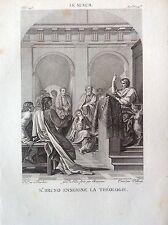 SAN BRUNO ENSEIGNE THÉOLOGIE Gravure original XIX siècle LESUEUR RELIGIEUX