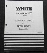GENUINE WHITE SNOW BOSS 1000 SNOWBLOWER SNOW THROWER OPERATORS & PARTS MANUAL