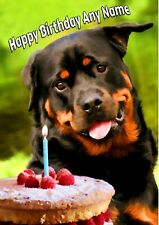 Personalised Rottweiler Rotty Birthday Card + blank textured white insert  A5