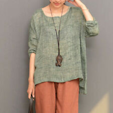 UK 10-24 ZANZEA Women Long Sleeve Vintage Baggy Tops Loose Casual Blouse T Shirt