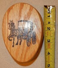 1 Vintage Wooden Magic Marble Towel Holder Horse & Buggy